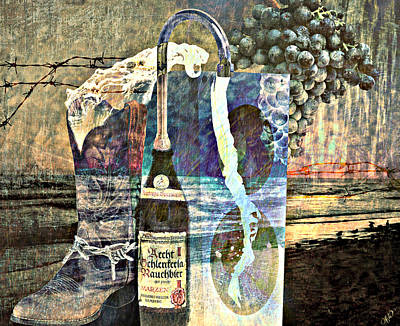 Art Print featuring the mixed media Beer On Tap by Ally  White