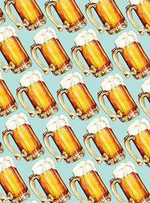 Beer Pattern Art Print by Kelly Gilleran