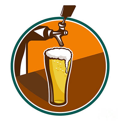 Beer Royalty-Free and Rights-Managed Images - Beer Pint Glass Tap Retro by Aloysius Patrimonio