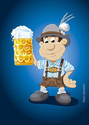 Beer Stein Lederhosen Oktoberfest Cartoon Man Print by Frank Ramspott