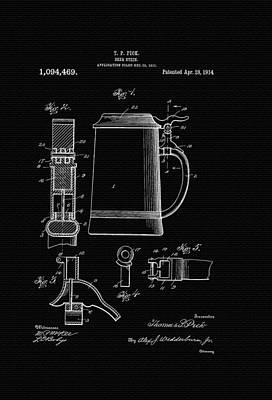 Stein Drawing - Beer Stein Patent - 1914 by Mountain Dreams