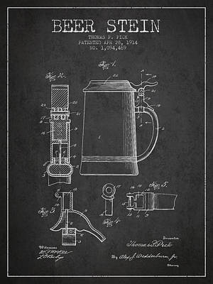 Glass Wall Digital Art - Beer Stein Patent From 1914 - Dark by Aged Pixel