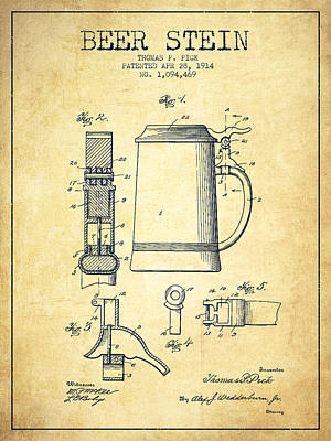 Beer Royalty-Free and Rights-Managed Images - Beer Stein Patent from 1914 -Vintage by Aged Pixel