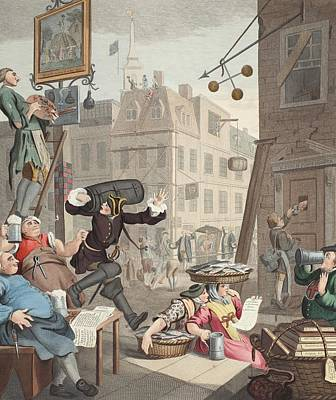 Satire Wall Art - Drawing - Beer Street, Illustration From Hogarth by William Hogarth