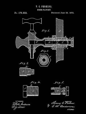 Fermentation Digital Art - Beer Tap Patent 1876 - Black by Stephen Younts