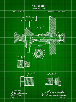 Fermentation Digital Art - Beer Tap Patent 1876 - Green by Stephen Younts