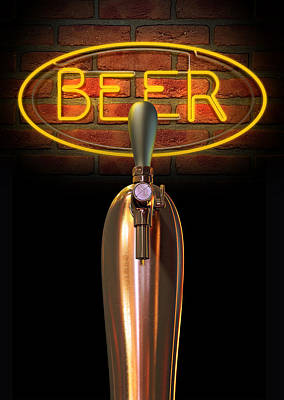 Neon Digital Art - Beer Tap Single With Neon Sign by Allan Swart