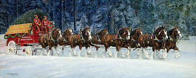 Clydesdales 8 Hitch On A Snowy Day Original by Don  Langeneckert
