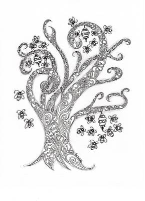 Zendoodle Drawing - Bees In The Tree by Paula Dickerhoff