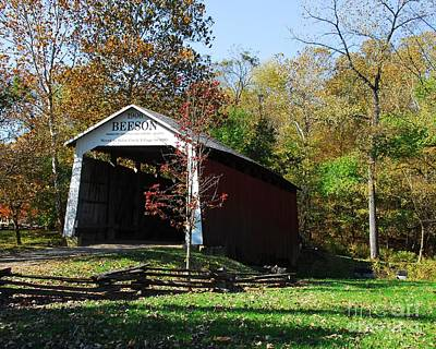 Indiana Landscapes Photograph - Beeson Covered Bridge 2 by Mel Steinhauer