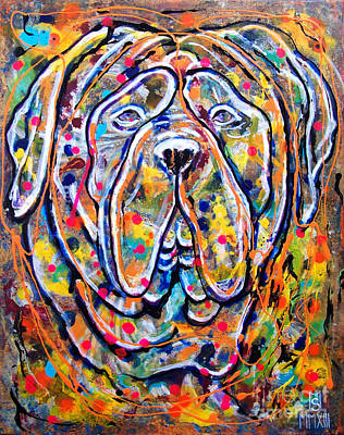Bulldog Oil Painting - Beethoven - Saint Bernard by Sergey Malkov