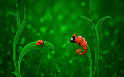 Ladybug Digital Art - Beetle Chameleon by Gianfranco Weiss