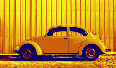 Gold Color Photograph - Beetle Pop Gold by Laura Fasulo