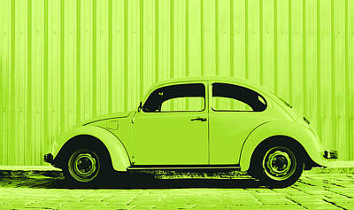 Sheet Metal Photograph - Beetle Pop Lime by Laura Fasulo