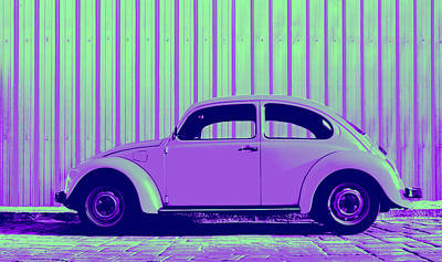 Bug Digital Art - Beetle Pop Purple by Laura Fasulo