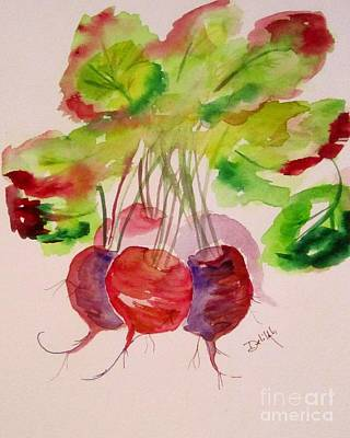 Beets And Green Tops Art Print by Delilah  Smith