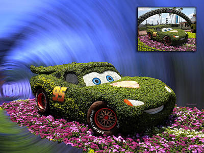 Before And After Sample Art 29 Floral Lightning Mcqueen Art Print by Thomas Woolworth