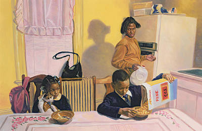 African American Artist Wall Art - Painting - Before School by Colin Bootman
