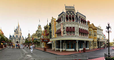 Before The Gates Open Early Morning Magic Kingdom With Castle. Art Print by Thomas Woolworth