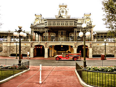 Before The Gates Open The Magic Kingdom Train Station Art Print by Thomas Woolworth
