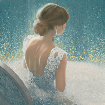 Wedding Gown Painting - Before The Opera Blue by James Wiens
