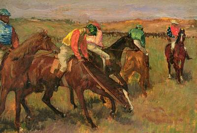 Bay Horse Painting - Before The Races by Edgar Degas
