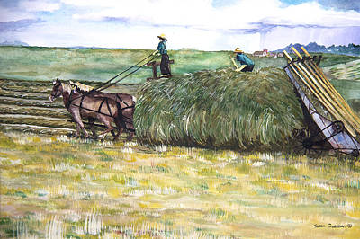 Horse Pulling Wagon Painting - Before The Rain by Susan Crossman Buscho