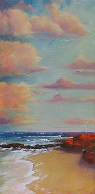 Shore Lines Painting - Before The Sun Sets by Laura Lee Zanghetti