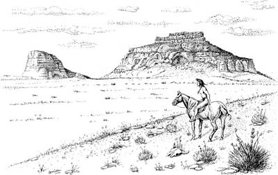 Drawing - Open Prairie Overlook by Bern Miller