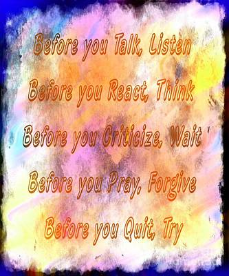 Before You Quit 4 Print by Barbara Griffin