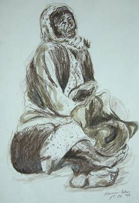 Drawing - Beggar In The Ghetto by Esther Newman-Cohen