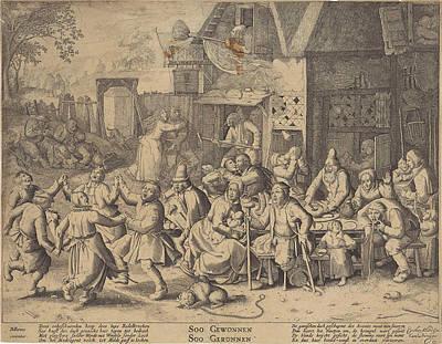 Properties Drawing - Beggars, Print Maker Pieter Serwouters, David Vinckboons by Pieter Serwouters And David Vinckboons And Carel Allard