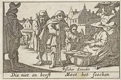 Bakery Drawing - Beggars Receiving Alms by Pieter Hendricksz. Schut And Claes Jansz. Visscher (ii)