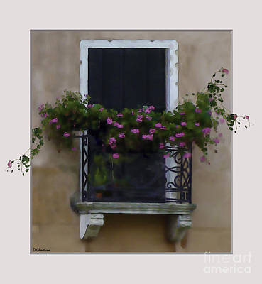 Digital Art - Begonias Venice Balcony by Debra Chmelina