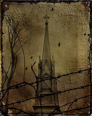 Barbed Wire Fences Digital Art - Behind The Barbed Wire by Gothicrow Images