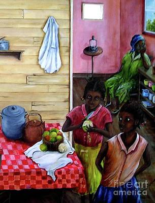 Table Cloth Painting - Behind The Blue Door by Anna-maria Dickinson