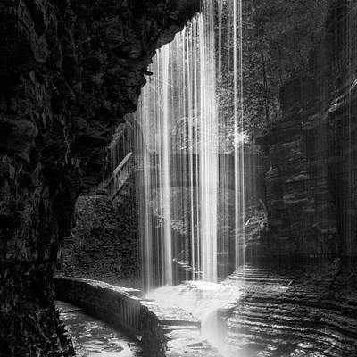 Watkins Glen New York Photograph - Behind The Falls Black And White Square by Bill Wakeley