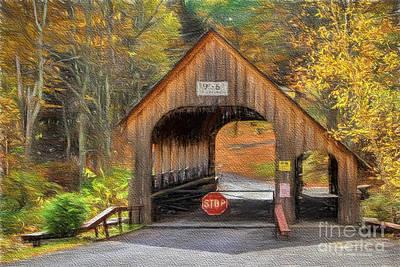 Covered Bridge Mixed Media - Behind The Gate by Deborah Benoit