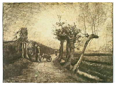 Dirt Roads Drawing - Behind The Hedges by Vincent van Gogh