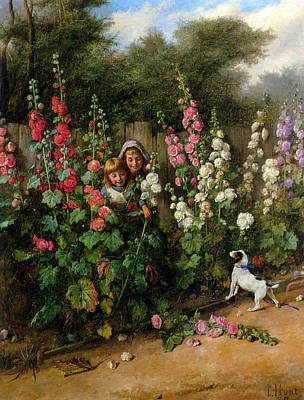 Behind The Hollyhocks Print by Charles Hunt