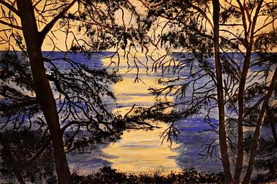 Pinetree Painting - Behind The Pinetrees by Dimitra Papageorgiou