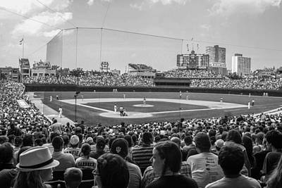 Photograph - Behind The Plate Black And White  Wrigley  by John McGraw