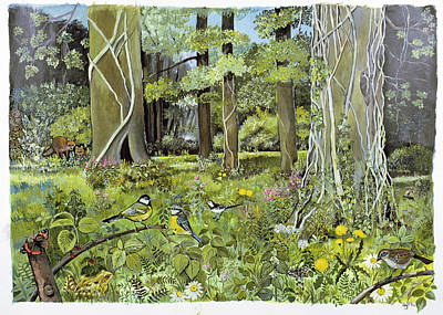 Blue Tit Photograph - Behind The Squires, Devon Acrylic On Paper by Hilary Jones