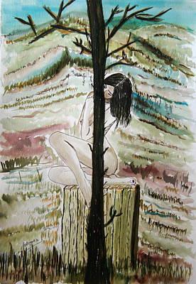 Painting - Behind The Tree. by Shlomo Zangilevitch