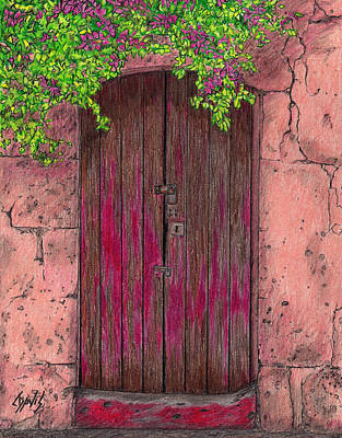 Drawing - Behind This Door by Lew Davis