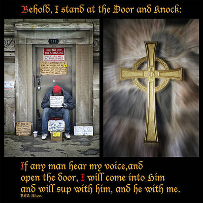 Behold I Stand At The Door Composite Art Print by Thomas Woolworth