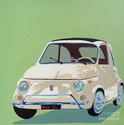 Fiat Car Painting - Beige Fiat 500 by Nicky Leigh
