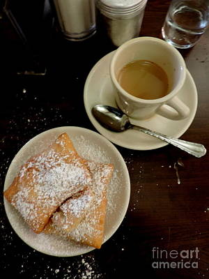Photograph - New Orleans Beignets And Coffee Au Lait  by Michael Hoard