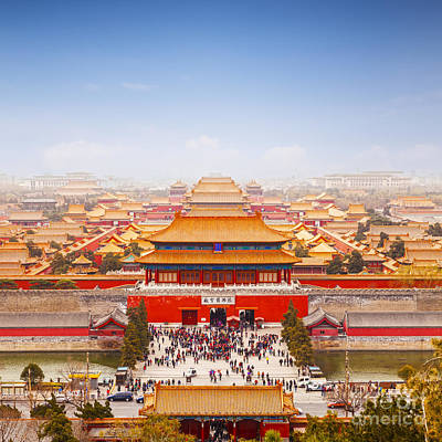 Beijing Forbidden City Skyline Art Print