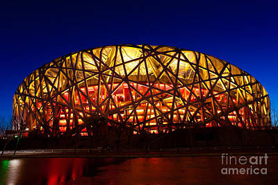 Beijing National Stadium By Night The Bird's Nest Art Print